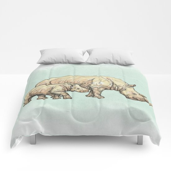 Rhino Mother and Child Comforters