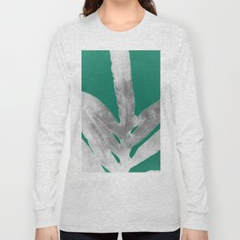 Christmas Fern, Holiday Green with Silver Winter Leaf Long Sleeve T-shirt