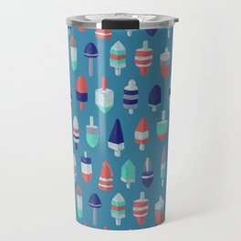 Lobster Buoys RBW on ocean blue Travel Mug