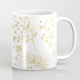 Elegant modern white faux gold floral Coffee Mug