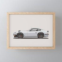 Legendary Classic White 240z Fairlady Vintage Retro Cool German Car Wall Art and T-Shirts Framed Mini Art Print