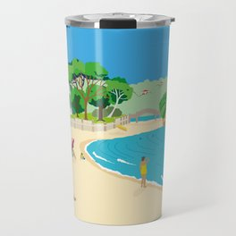 Modern Retro Art Print of Balmoral Beach, Sydney, Australia Travel Mug