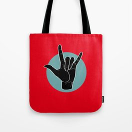 ILY - I Love You - Sign Language - Black on Green Blue 01 Tote Bag
