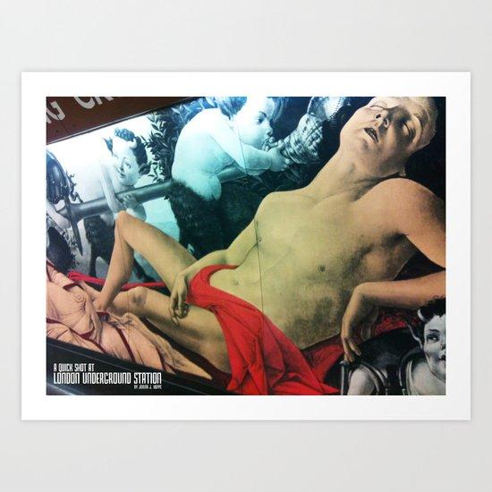 A QUICK SHOT AT :: LONDON UNDERGROUND STATION Art Print