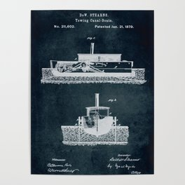 1879 Towing canal-boats patent Poster