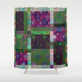 Lotus flower green and maroon stitched patchwork - woodblock print style pattern Shower Curtain