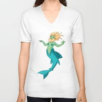 siren V-neck T-shirts featuring Siren by  Arbitrary Stockings