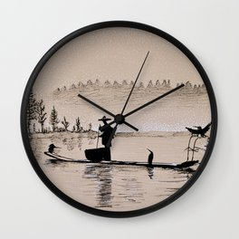 Sunrise Bird Fishing Wall Clock