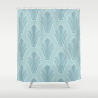 mid century modern Shower Curtains featuring Mid-Century Modern Shell by Pat Giancontieri -Artzlady-