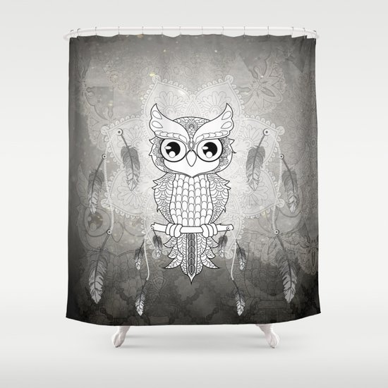 Cute Owl In Black And White Shower Curtain By Nicky2342