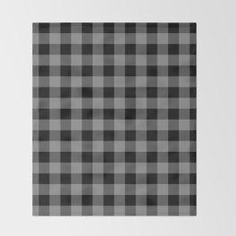 Gray and Black Lumberjack Buffalo Plaid Fabric Throw Blanket
