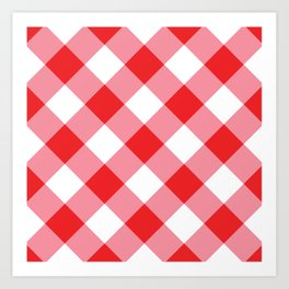 Gingham - Red Art Print