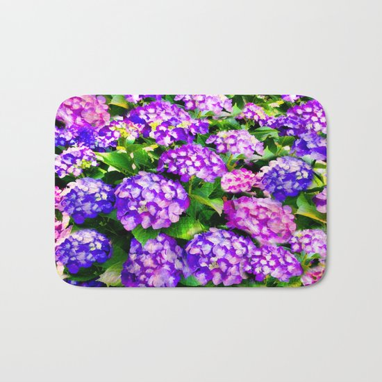 Elegant Purple & Lavender Hydrangea Bath Mat