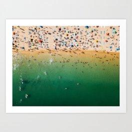 People Having Fun On Beach, Digital Download, Aerial Drone Photography, Printable Ocean Photography Art Print