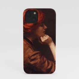 Thinking About the Kiss, Redhead with Goldfish in an Idle Moment female portrait by Alexander White iPhone Case