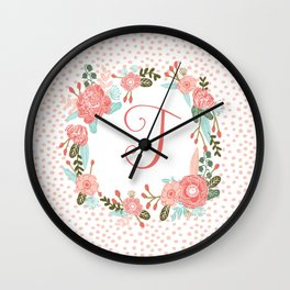 Monogram T - cute girls coral florals flower wreath, coral florals, baby girl, baby blanket Wall Clock