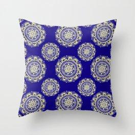 Royal Blue and Gold Patterned Mandalas Throw Pillow