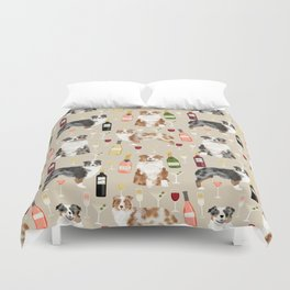 Australian Shepherd blue and red merle wine cocktails yappy hour pattern dog breed Duvet Cover