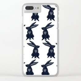 Rabbit Galore Pattern in Dark Blue and White Clear iPhone Case