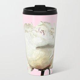 White Peony Pink Background Travel Mug