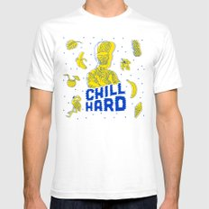 Chill Hard White SMALL Mens Fitted Tee