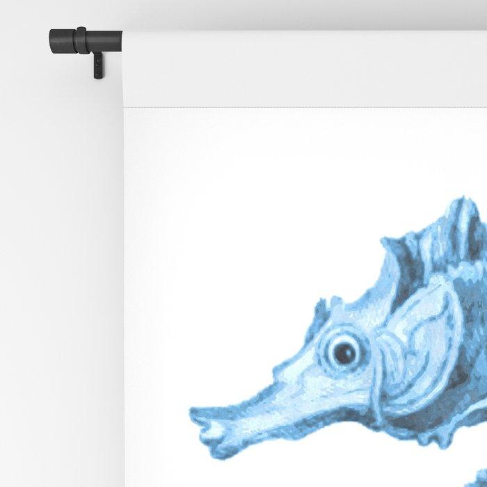 Seahorse nautical blue watercolor Blackout Curtain