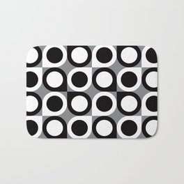 Geometric Pattern #193 (black gray circles) Bath Mat