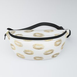 White & Gold Lip Pattern Fanny Pack