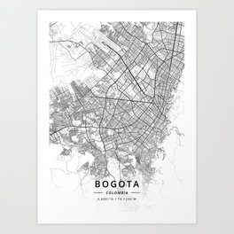Bogota, Colombia - Light Map Art Print