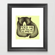 Feed Me And Tell Me I'm Pretty (Yellow) Framed Art Print