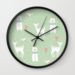 Fawn and bear mint green Wall Clock