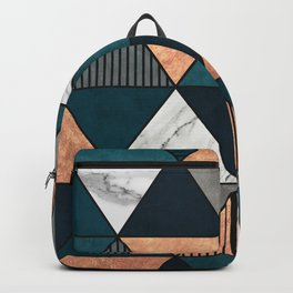 Copper, Marble and Concrete Triangles 2 with Blue Backpack