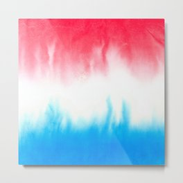 Red White and Blue Flowing Watercolors Metal Print