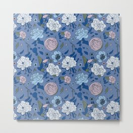 Lovely Seamless Floral Pattern With Subtle Poodles (Hand Drawn) Metal Print