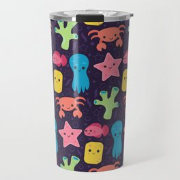 Cute Ocean Friends • Purple Background Travel Mug