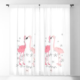 Loving flamingos and flowers Blackout Curtain