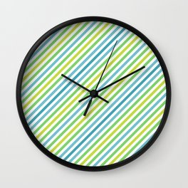 Blue & Green Geometric Striped Pattern Wall Clock