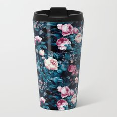 Roses Blue Metal Travel Mug