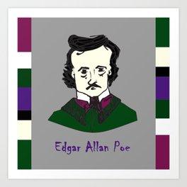 Edgar Allan Poe - hand-drawn portrait Art Print