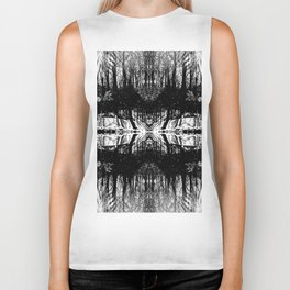 155 - Black and White abstract design Biker Tank
