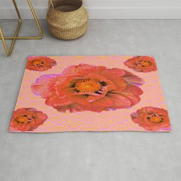 Delicate Saffron Pink Double Poppy Flowers Pattern Art Rug