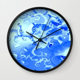 Seahorse in blue Wall Clock