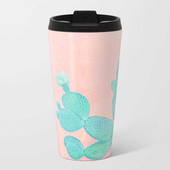 Pastel Cactus Metal Travel Mug