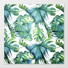 Blue Jungle Leaves, Monstera, Palm #society6 Canvas Print