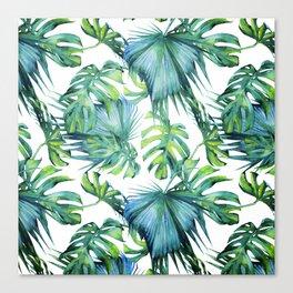 Blue Jungle Leaves, Monstera, Palm #society6 Canvas Print