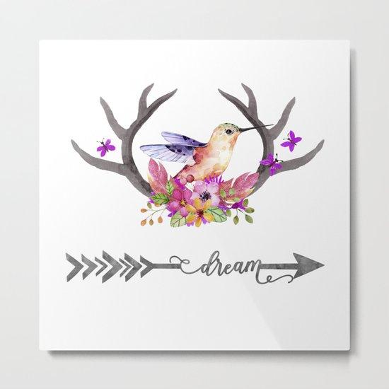 Hummingbird on floral Antlers and Dream arrow Metal Print