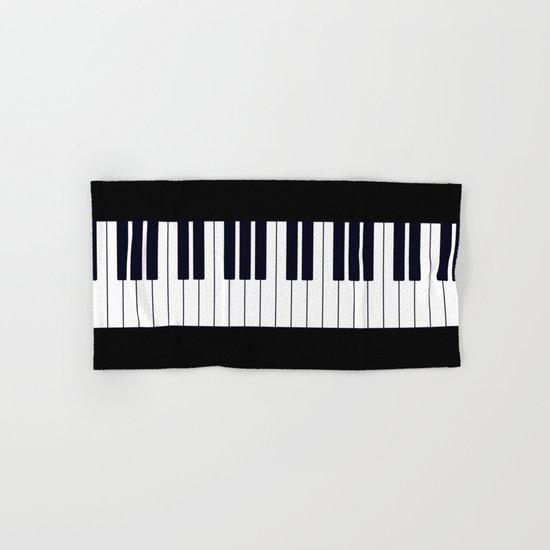 Piano Keys - Black and white simple piano keys pattern minimalistic music themed artwork Hand & Bath Towel