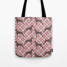 PINK TARTAN WEIMARANER Tote Bag