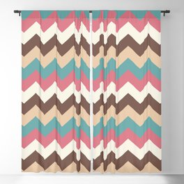Vintage Chevron Pattern – Red Yellow Blue and Brown Blackout Curtain