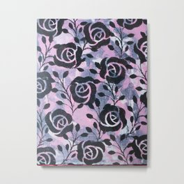 Black  Flowers and messy pink Metal Print